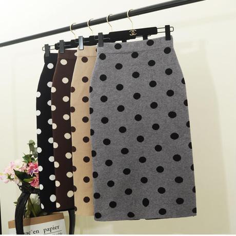 ドット柄ニットタイトスカート タイトスカートロング ニットタイトスカートタイトスカート大きいサイズ 韓国ファッション S30015