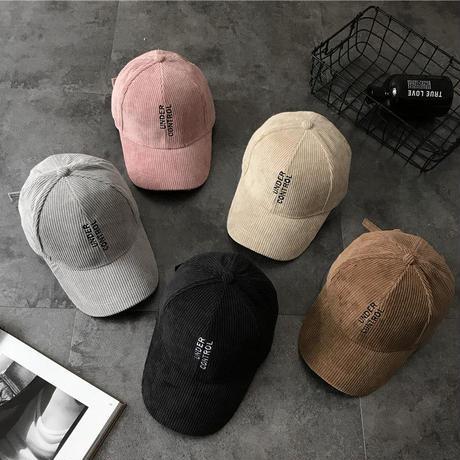 コーデュロイカラーキャップ 帽子 スポーティー カジュアル ロゴ 刺繍 オルチャン 韓国 ファッション X3006