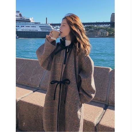 リボン 可愛い フード グレンチェック ロングコート レディース チェック柄 韓国ファッション【K10005】