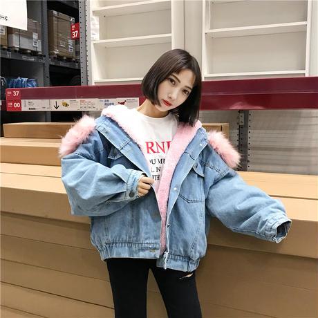 デニムジャケット レディース 裏ボア フード付 ショート ボアブルゾン 韓国 ファッション K30050