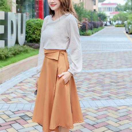バルーンスリーブシンプルトップスx変形ミモレ丈スカートセット オルチャン 韓国 ファッション U30005