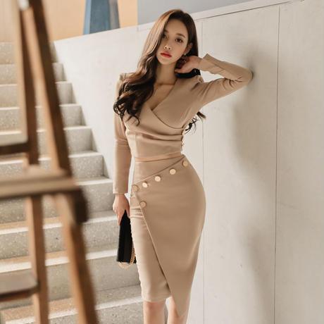 セパレートタイプセクシータイトドレス パーティードレス 長袖 韓国ファッション D39002