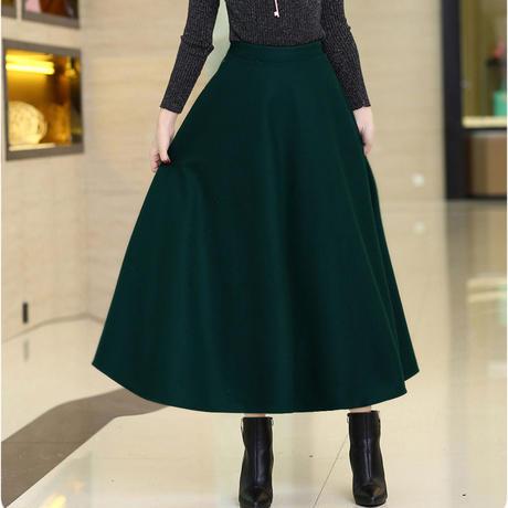 ロングスカート スカート レディース ハイウエスト シンプル フレア 韓国ファッション 新作 S30060