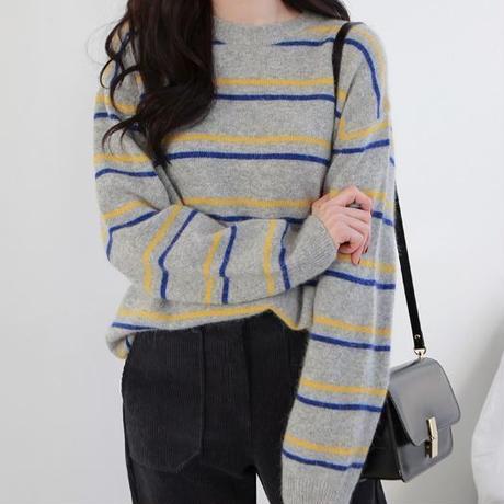 クルーネックボーダーニット レディース ニット トップス 秋冬 ニット 暖か セーター 長袖 韓国 ファッション T20045