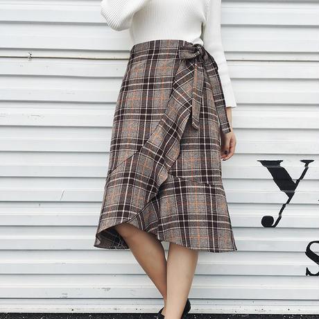 チェック柄フリルラップスカート 巻きスカート オルチャン 大人かわいい 韓国 ファッション S3036
