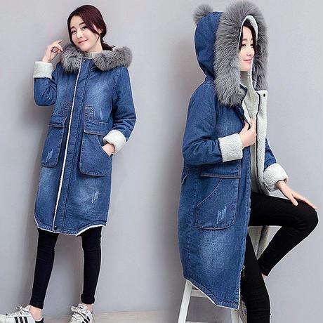 デニムジャケット レディース 裏ボア デニムコート ロングコート 大きいサイズ 韓国 ファッション K30033