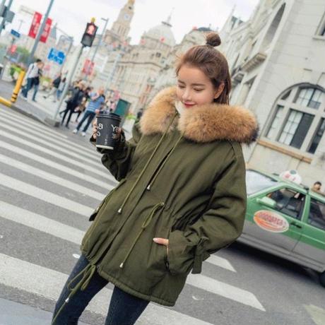 モッズコート レディース 大きいサイズ 女性用 ファー フード付 ミリタリーコート 韓国ファッション秋冬 K30076
