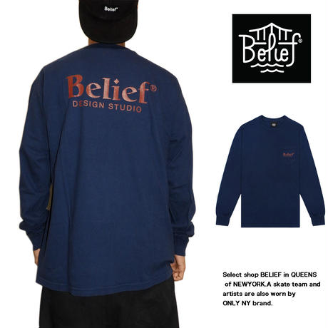 Belief NYC ビリーフニューヨーク ロングTシャツ ポケットロンT Studio L/S Pocket Tee  NAVY