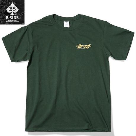B-SIDE【ビーサイド】 Tシャツ メンズ 半袖 グリーン Lサイズ