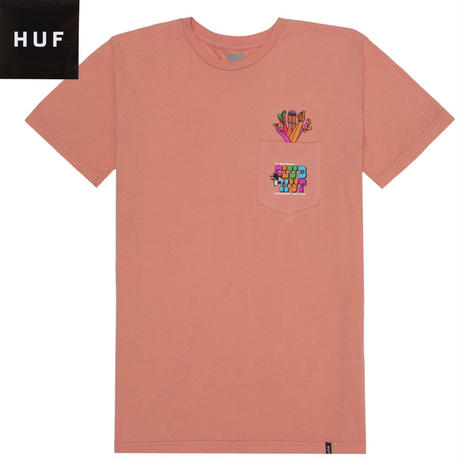 HUF【ハフ】 Tシャツ メンズ 半袖 CLUB HUF POCKET S/S TEE CORAL HAZE