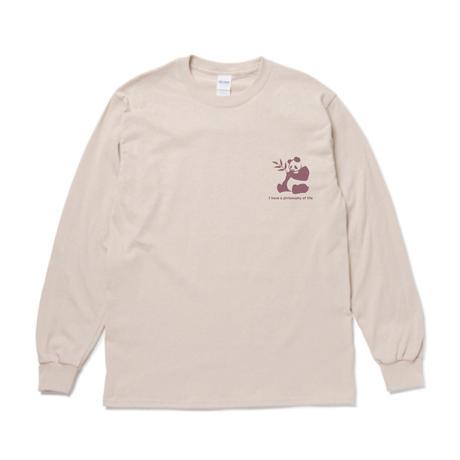 actwise パンダ哲学 長袖Tシャツ(サンド)