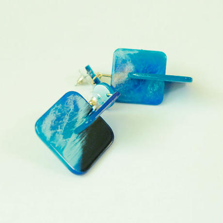 water color square pierced earrings