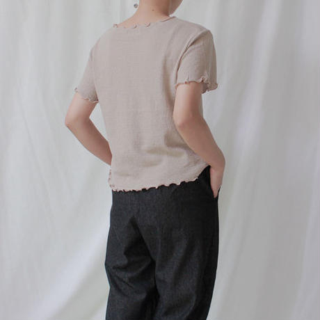 -3 colors- frill finished knit t-shirt