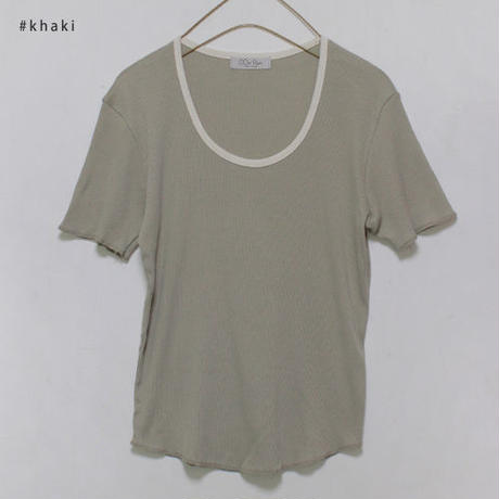 -3colors- color piping daily t-shirt