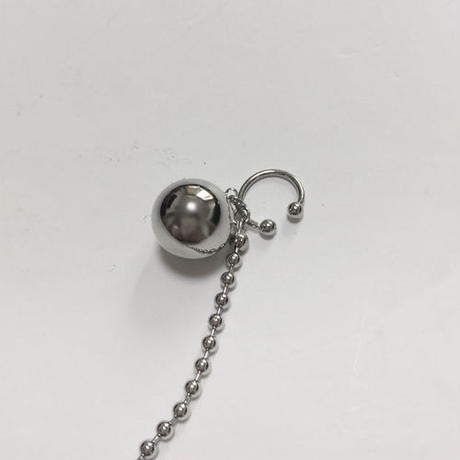 silver ball ear cuff -single-