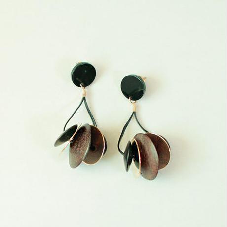 native buttons pierced earrings