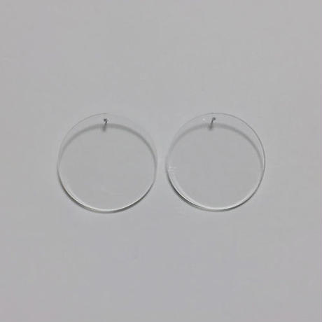 transparent round pierced earrings
