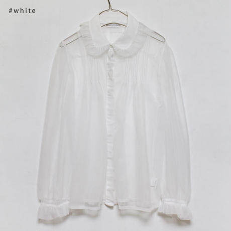 see-through frill pointed blouse