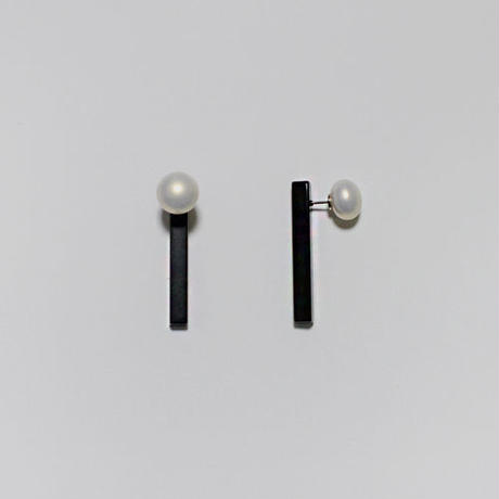 pearl x stick pierced earrings