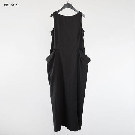 -3colors- solid pokets cotton onepiece