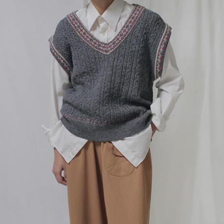 -2colors- over fit cozy knit vest