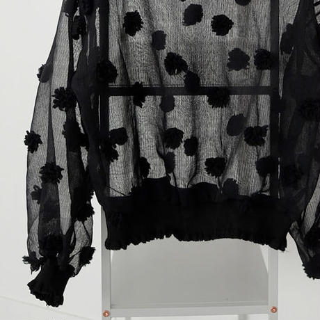 see-through texture flower blouse