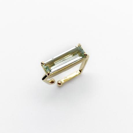 perfume bottle series earcuff Square size<green amethyst>
