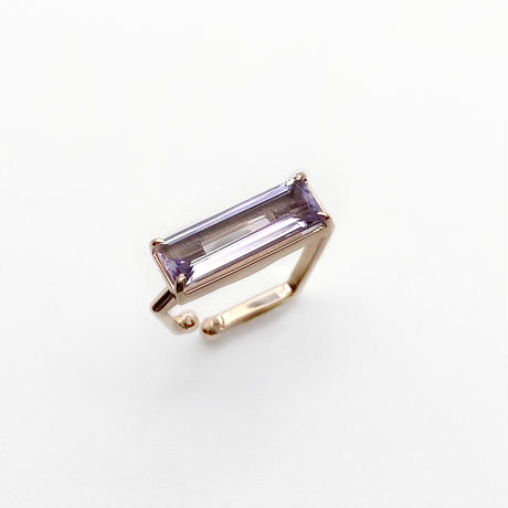 perfume bottle series earcuff Square size<pink amethyst>