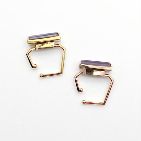 perfume bottle series earcuff Square size<shell&pink amethyst>