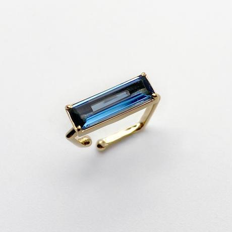 perfume bottle series earcuff Square size<london blue topaz>
