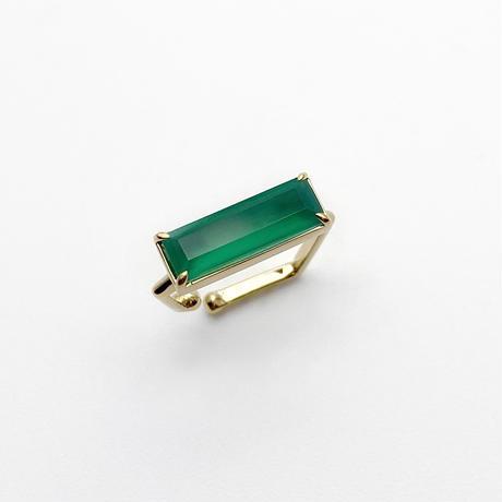 perfume bottle series earcuff Square size<green onyx>