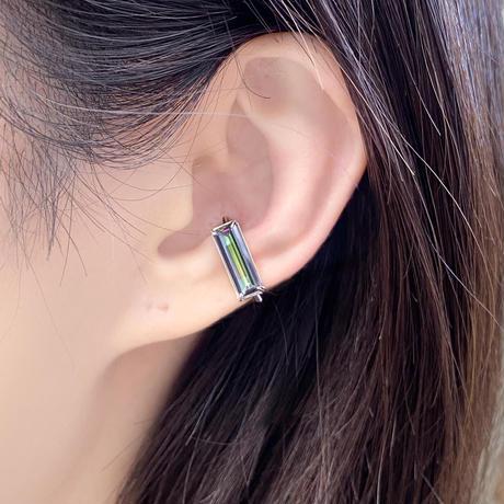 perfume bottle series earcuff Square size<mystic topaz green>