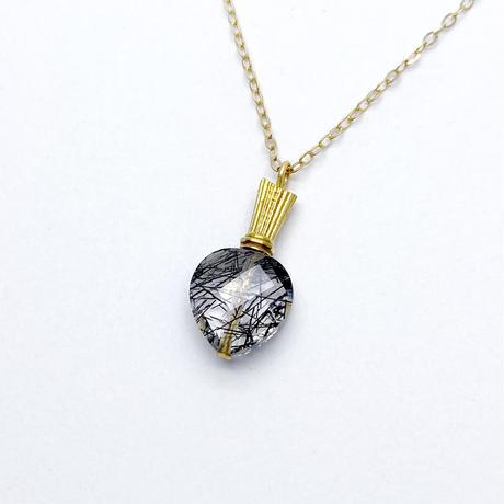perfume bottle series necklace<tourmaline quartz>