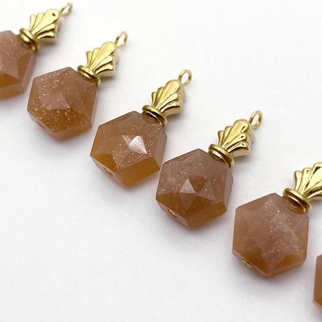 perfume bottle series necklace <peach moonstone>