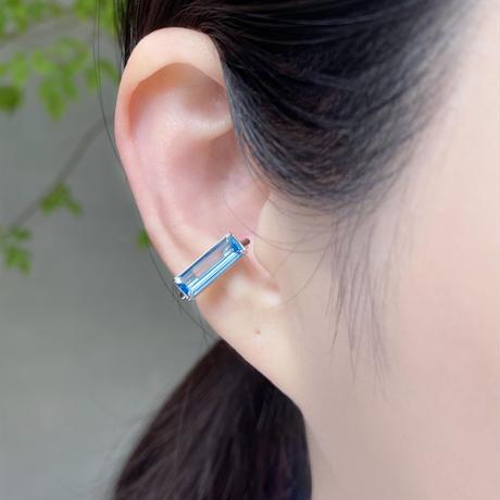 perfume bottle series earcuff Square size<swiss blue topaz>