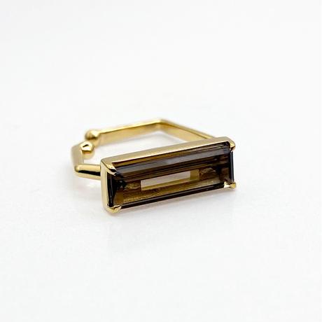 perfume bottle series earcuff Square size<smoky quartz>