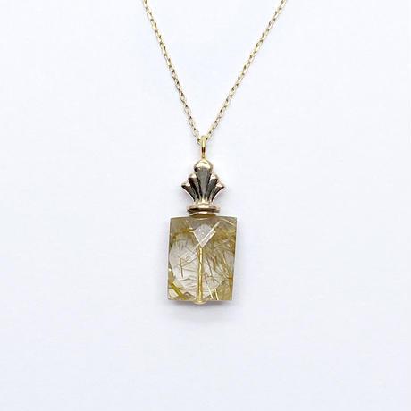 perfume bottle series necklace <rutile quartz > K10