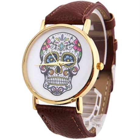skull flower S/S watch