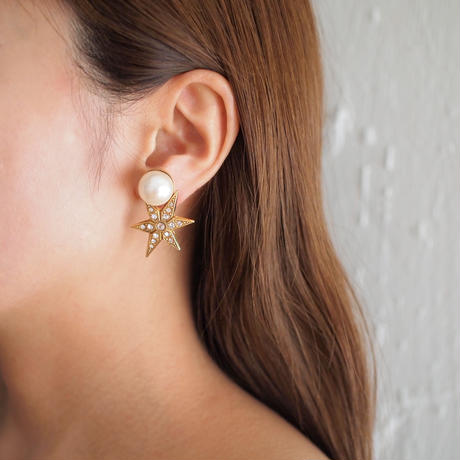 STAR pearl earring (gold)