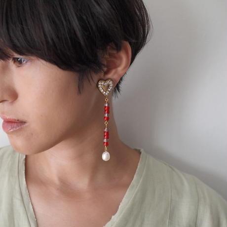 HEART beads long earring/pierce