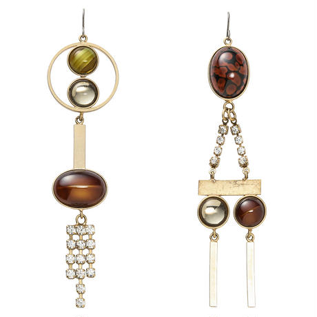 EARTH asymmetry long pierce/earring (goldxbrick)