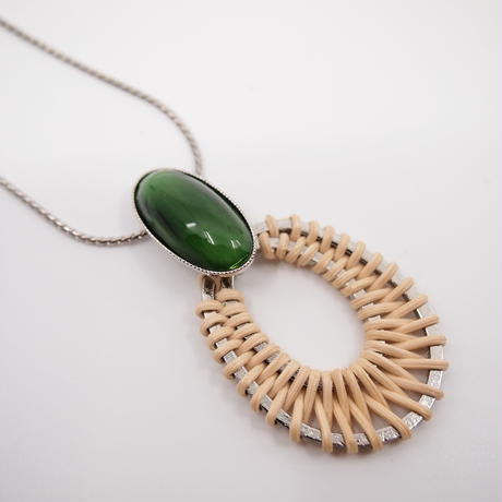 STONE rattan adjaster necklace(green×silver)