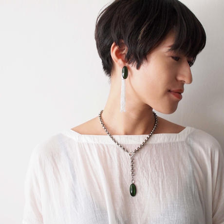 STONE chain necklace(green×silver)