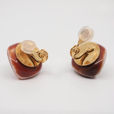 VINTAGE button earring(brown)