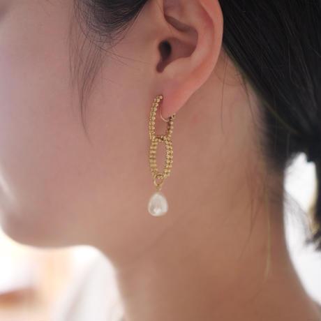 CUTSTEEL chain asymmetry pearl earring