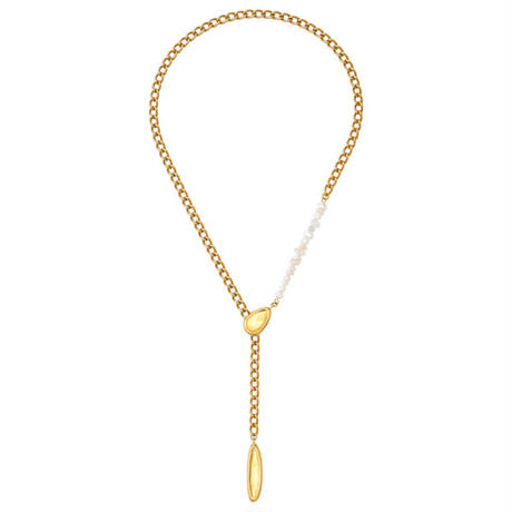 BLOCK PEARL adjuster long necklace