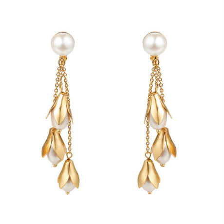 LILY OF VALLEY fringe chain pierce (gold)