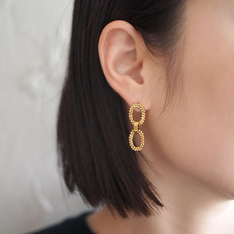 CUTSTEEL double chain earring/pierce (gold)