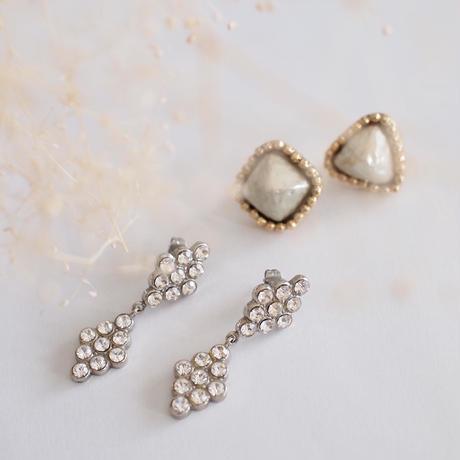 DIAMANTE crystal earring  (silver)