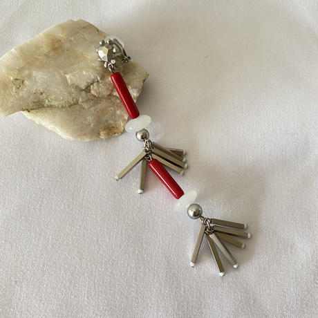 VINTAGE BEADS fringe long earring 【SINGLE】